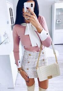 Dolls Fashion Tweed Mini Skirt And Cardigan Casual Pink Barbie Set