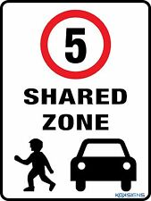 SHARED ZONE - SPEED LIMIT 5KPH -- 300 X 225MM - METAL SIGN - ROAD / TRAFFIC SIGN