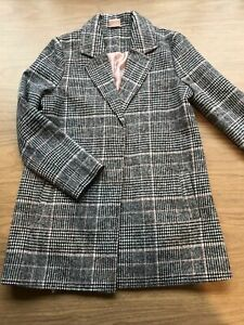 Girls Pink And Grey Checked Coat Jacket By F&F Age 9-10 Years