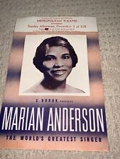 1939 Marian Anderson Promotional Flyer from Metropolitan Theatre Providence Ri