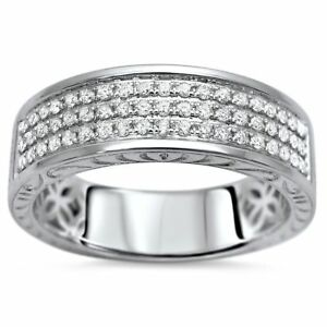 14K White Gold Over Three Row Round Channel Diamond Wedding Band Ring 1.2ct