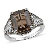 Platinum Plated 925 Sterling Silver Brown Stone Smoky Quartz Fashion Ring Ct 2.6