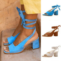 Women's Ladies Casual Rome Ankle Strap Peep Toe Sandals Square Heels Shoes