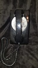 AT&T 554 Vintage 1940-1960s Black Rotary Wall Telephone Works Made in USA