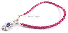 Hamsa Red Leather Bracelet Evil Eye Charm Kabbalah Hand Gold Pendant Amulet