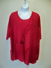 Lee Andersen  Madison Tunic  NWT  2X  Red Cotton  Gauze