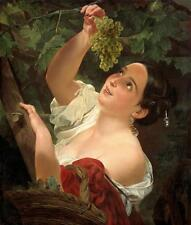 Oil painting Carl Bryullov - Girl gathering grapes or Italian Midday landscape