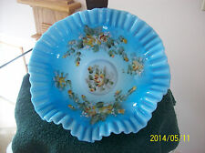 Brides Bowl  Antique Blue With Gold & White Enameled Roses Crimped Ruffled Rim