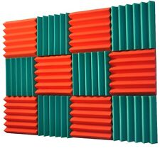 2x12x12 (12 Pk) TEAL/ORANGE Acoustic Wedge Soundproofing Studio Foam Tiles
