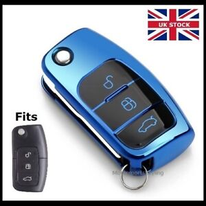 Blue Remote Key Fob Cover Case For Ford Flip Key 3 Button Hull Protection T43blu