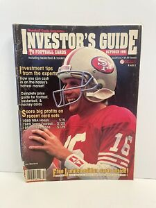 VTG INVESTORS GUIDE TO FOOTBALL CARDS JOE MONTNA OCT 1991 WITH UNCUT CARDS