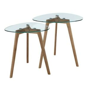 Convenience Concepts Clearview Nesting End Tables, Natural/Glass - 111646