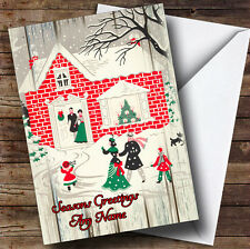 Wood Red Brick House Vintage Traditional Personalised Christmas Card