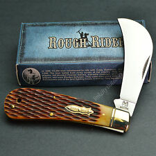 ROUGH RIDER 440 Stainless Amber Jigged Bone Hawkbill Folding Pocket Knife RR764