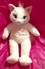 """Build A Bear White Cat Kitty with Pink Heart Feet Ears 18"""" Large!!"""