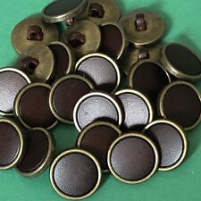 10 X 18mm Bronce Y Efecto Cuero Marrón Botones #1461