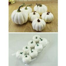 6Pcs Halloween Artificial White Pumpkins Harvest Fall Thanksgiving Craft Decor