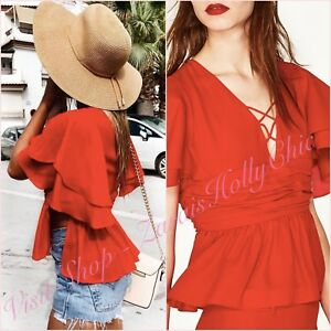 Red V Neck Lace Up Blouse Shirt Short Sleeve Top Size 6 US 2 XS Blogger ❤