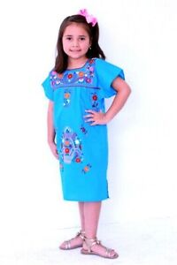 Beautiful Embroidery Mexican Dress Girls Size 6 Kids Hippie Embroidery Dress