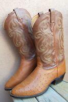 TONY LAMA Mens Cowboy Western Boots Cognac Tan Genuine Ostrich Leather Size 12EE
