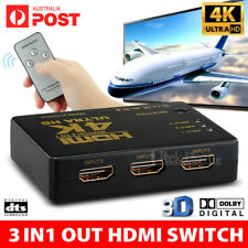 4K Ultra HD 3 Way HDMI Switch Splitter HDTV Auto 3 Port IN 1 OUT Remote Control