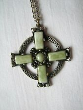 Vintage Miracle Style Celtic Cross & Chain Pendant faux Connemara Marble Glass
