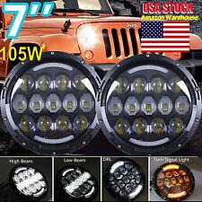 "2x 7"" Round 105W LED Headlight DRL Hi/Lo BEAM For JEEP Wrangler JK/TJ/CJ/Hummer"