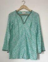 Laura Ashley Women Top Size 8 Green Bird Print Tunic Long Sleeve Cotton