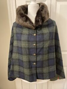 Nwt Joules Black Watch Plaid Cape / Poncho Tweed With A Twist. One Size