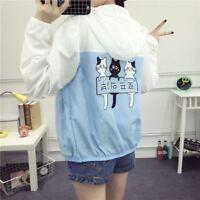 Womens Harajuku Cute Cat Printed Thin Jacket Girls Summer Sunproof Coat 2 Colors