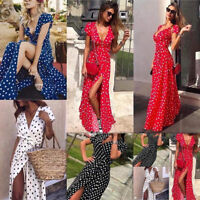 Women Polka Dots Print Long Maxi Dress Holiday Summer Beach Elegant Shirt Skirts