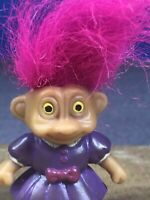 Vintage Mini Troll Doll Hot Pink Hair Yellow Eyes Purple Dress Soma Toy
