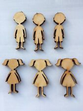 Pack Of X20 Wooden Boy And Girl Shapes Craft Blank Embellishment