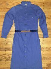 Vintage LL Bean Women's Dress Blue Corduroy Long Sleeve Modest Size 6