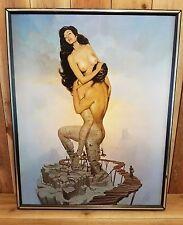 "Rare HTF Vintage John Pitre ""Passion Framed Print on Wood 29"" x 23"""