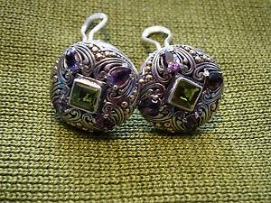 PHILLIP GAVRIEL Sterling Silver & 18K Gold Earrings, Gemstones:Peridot, Amethyst