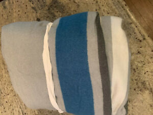 Pottery Barn Kids Bright Stripe Throw Blanket Gray Blue Twin NEW