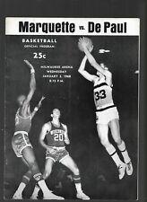 Vintage Marquette Vs De Paul NCAA Basketball January 3, 1968 Unmarked Program