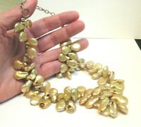 BAROQUE TYPE PEARL NECKLACE SILVER CHAIN VINTAGE 18 INCHES LONG 100 GRAMS