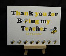 Personalised Handmade Thank You for being Teacher Card -  Nursery, Teachers Help