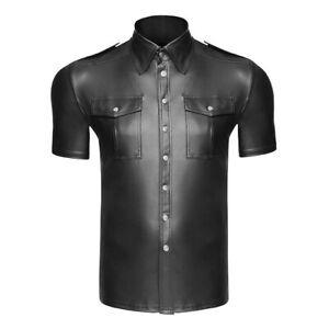 HOT Black Faux Leather PU Police Uniform Shirt Short Sleeve Top Tee Wet Look