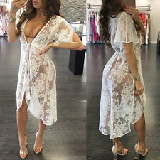 Women Summer Lace Dress Bikini Cover-Up Kaftan Cape Kimono Cardigan Beach Dress