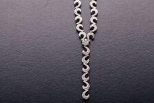 "Designer $8000 3ct Diamond 14k White Gold COMMA C INITIAL 16"" Necklace"