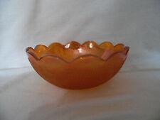 """Vintage Jeanette Depression Carnival Glass 7"""" Bowl Marigold TREE BARK"""