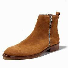 Mens Real Leather Chelsea Boots Shoes Pointy Toe Fur Inside Warm Chukka Casual L