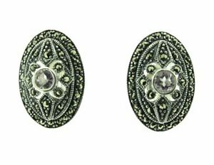 Silver, marcasite and amethyst clip-on oval earrings