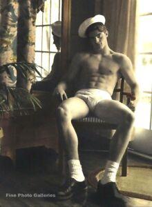 1990s Vintage BRUCE WEBER Handsome Shirtless Male In Sailor Hat Photo Art 11X14
