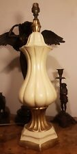 Lovely Tall Vintage Christopher Wray Ivory & Gold Ceramic Table Lamp 1ft 23cm
