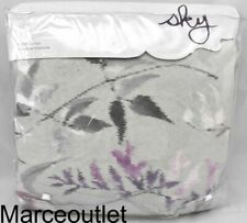 Sky Ikat Floral King Duvet Cover & Shams Set Gray - Lavender