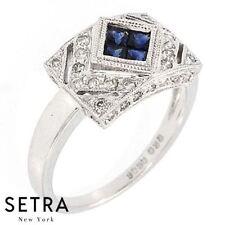 Cut Sapphire Ring 14k Gold Right Hand Round Diamond & Princess